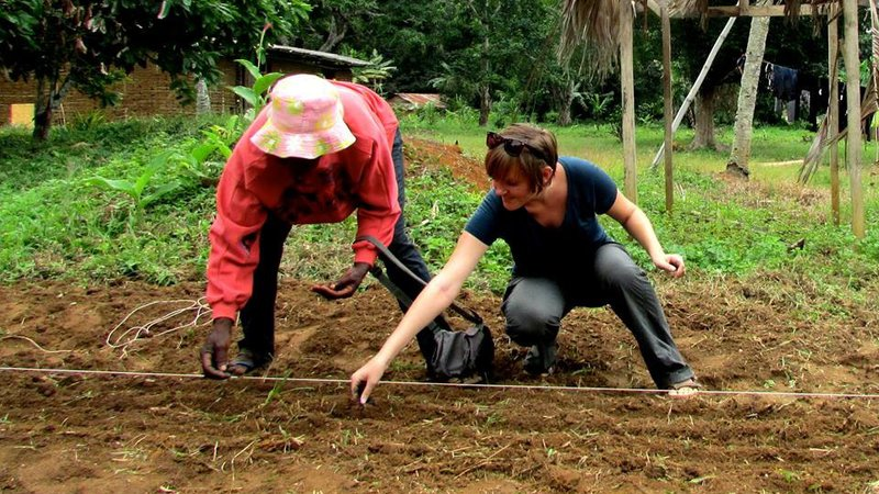 Agriculture Volunteer Maria and her community host, Madame Obama