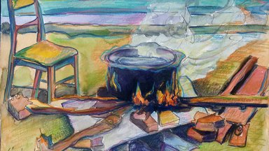 A watercolor painting of a colorful fire with a pot of boiling nsima balanced across 3 stones