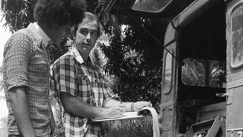 I am working on a geo-electric groundwater survey with my Tongan counterpart, 1977