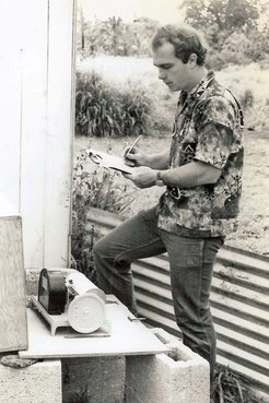 I am recording depths at a water well on Tongatapu, 1977
