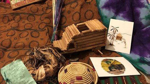 artifacts from Burundi with shipping  box