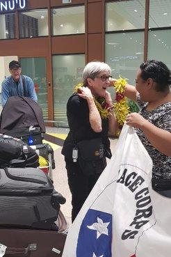 Deborah arrives at the airport in Samoa.