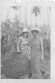 Pam Cohelan Benson and her Peace Corps roommate in their barrio, circa 1964.