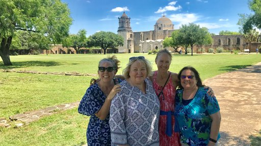 Erin, Mary Mone (Erin and Colleen's mother), Colleen, and Mary Quijano at the San Jose Mission