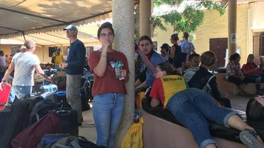 A group of Volunteers and Trainees at the airport as they depart Senegal for home due to Covid.