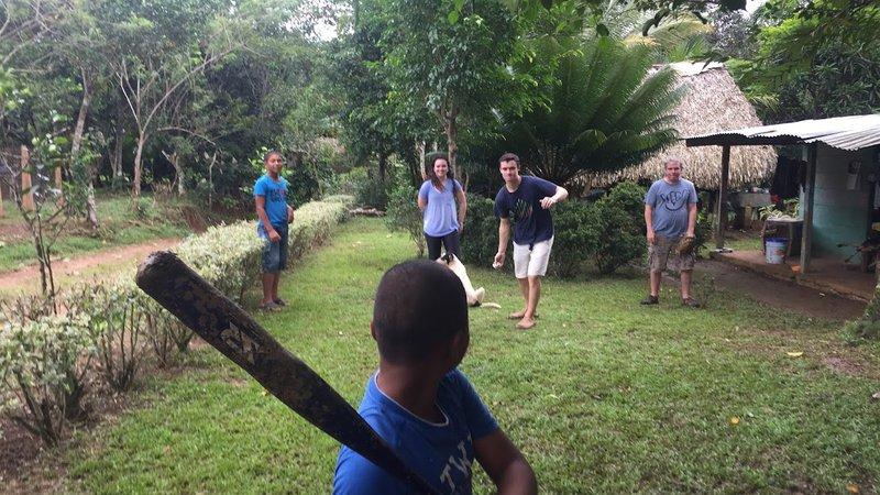Playing baseball in Panama