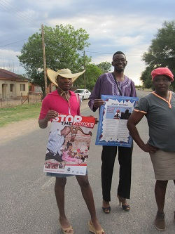 Community leaders dressed up as women for a gender based violence awareness march