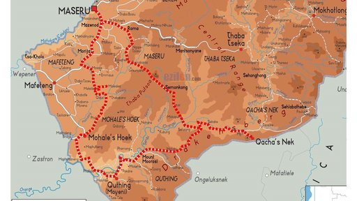 Lesotho route map