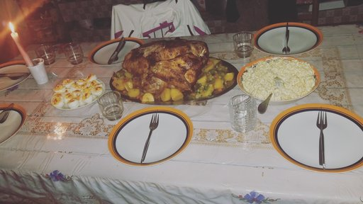 Host family created their first Thanksgiving dinner meal to celebrate with me.