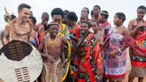 Traditionally dressed Swazi people in a Peace Corps Volunteer's community.