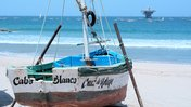 One fo the artisanal fishing boats on the shores of Cabo Blanco, overlooking the rest of the fleet.
