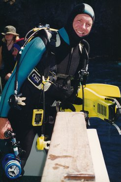 Patrick Cotter ready to go diving.