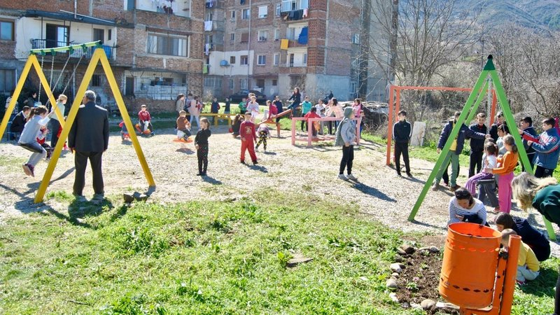 playground with new equipment in Albania