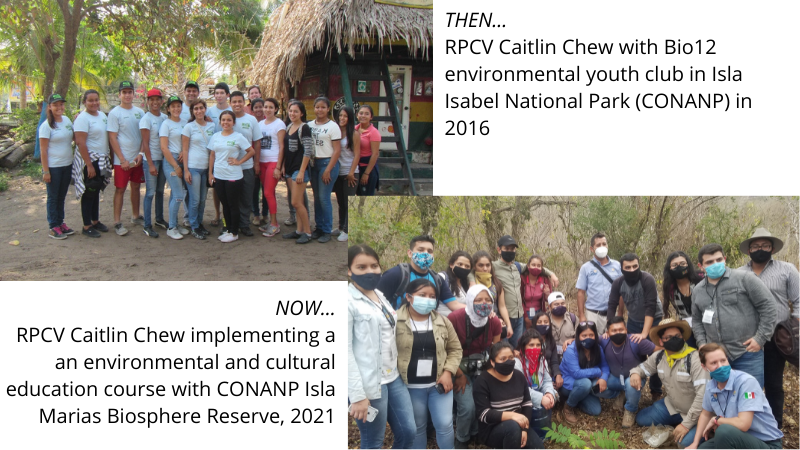 RPCV Caitlin Chew in 2016 and 2021
