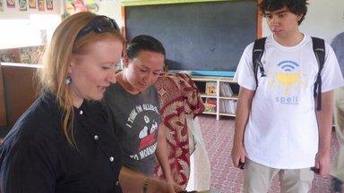 SolarSPELL visits a Volunteer's school library