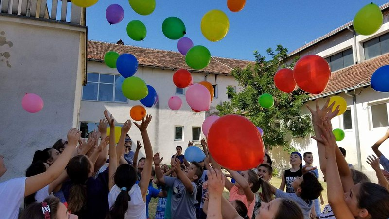 Students and balloons