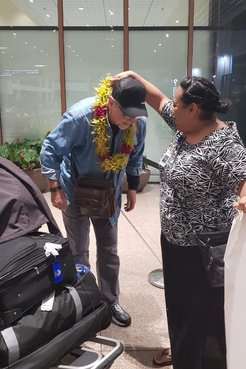 Steve arrives at the airport in Samoa.