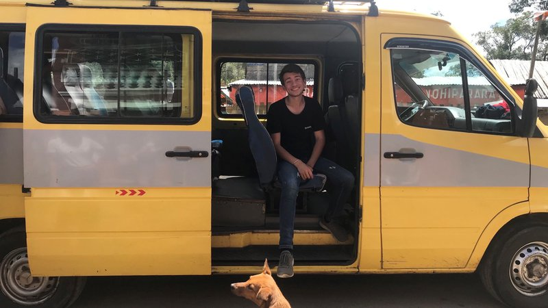 Tommy Kolovos in a van in Madagascar