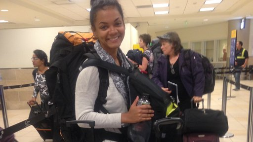 Tori Jackson: Arriving at the airport in Quito with all my suitcases.