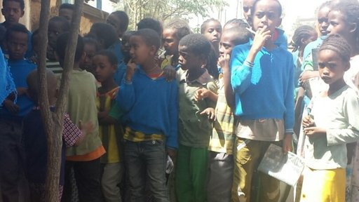 Community members stand in line for the yearly Trachoma campaign in Tigray.