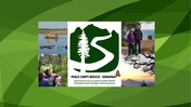 XV Anniversary Logo, people fishing, birding, with a rainwater cistern, and a sunset on the PC Environment sector background
