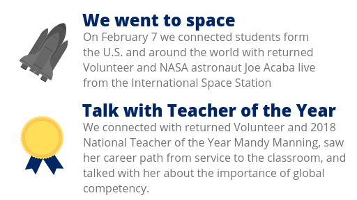 """Image highlights two events from 2018: """"We went to space"""" (students participated in a downlink with astronauts on the Interna"""