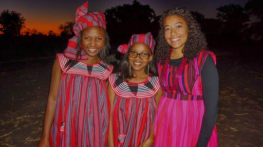 My sisters and I at my last Owambo wedding held at my host family's house. I attended my first wedding at their house during