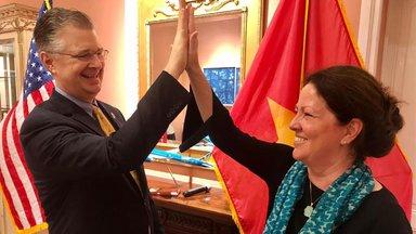 Country Director Kate Becker and Ambassador Daniel Kritenbrink