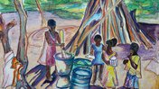A watercolor painting of a group of girls gathered around an outdoor cooking space