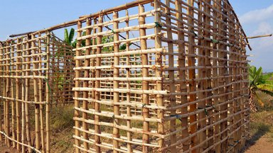 a house frame built from bamboo