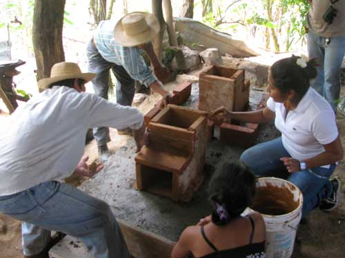 Volunteer David Wagner is building new stoves for a school in a local community in Panama.