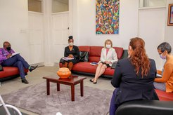 Country Director Dr. Nadine Rogers meets the new Minister of Education Ms. Priya Manickchand.