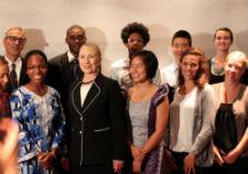 Secretary of State Hillary Rodham Clinton in Dakar, Senegal with Peace Corps volunteers.