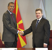 Dr. Gjorge Ivanov, president of the Republic of Macedonia, meets with Peace Corps Director Aaron S. Williams