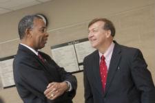 Peace Corps Director Williams speaks with Stony Brook University President Samuel L. Stanley, Jr.