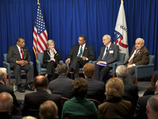 C. Payne Lucas, Maryann E. Orlando, Peace Corps Director Aaron S. Williams, former U.S. Senator Harris Wofford, and Charlie Peters at the Loret Miller Ruppe Speaker Series event.