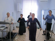 Women in Turkmenistan take exercise classes with Peace Corps volunteer Ellyse Gillogley.