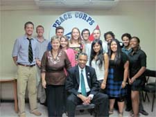 Peace Corps Director Aaron S. Williams visits with Peace Corps volunteers in Asuncion, Paraguay.