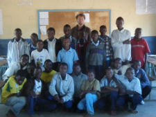Peace Corps volunteer James Ujcic with students at his Zambian school.
