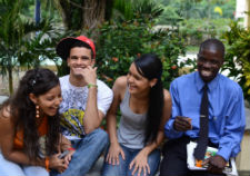 Student actors share a laugh during a shoot for the telenovela.