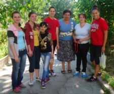 Peace Corps volunteers and community members participating in game day events in Armenia.