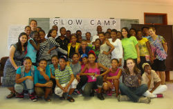 Peace Corps volunteers and GLOW (Girls Leading Our World) participants in Botswana.