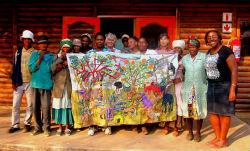 Peace Corps volunteer Shanta Adeeb, far right, with members of the local art center.