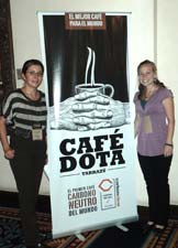 Peace Corps volunteer Sarah Page (right) and a member of the carbon neutral certification team.