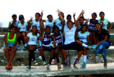 Peace Corps volunteer Natally Rodriguez with participants of the sports project.