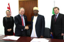 Comoros Foreign Minister Said Hassane El-Anrif and Peace Corps' Africa Regional Director Dick Day
