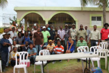Peace Corps volunteer Gabrielle Bashist with fishermen in the association.
