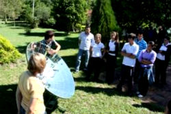 Peace Corps volunteers present at the first climate change workshop in San Bernardino, Paraguay.