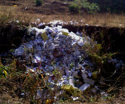 A pile of medical trash in Peace Corps volunteer Jessica Mims' Ethiopian community. This type of waste will soon be disposed of in the new medical waste incinerator.