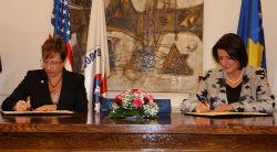 President of the Republic of Kosovo Atifete Jahjaga and U.S. Ambassador to the Republic of Kosovo Tracey Jacobson.